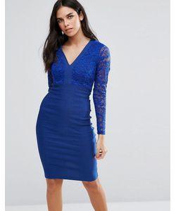 Vesper | Платье-Футляр С Кружевным Топом И Длинными Рукавами