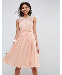 Asos   Платье Миди С Присборенной Вставкой Wedding