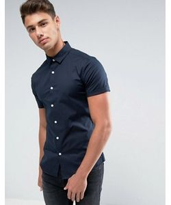Asos | Темно-Синяя Зауженная Рубашка