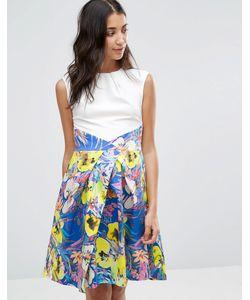 Closet London | Платье С Контрастной Плиссированной Юбкой И Цветочным Принтом Closet