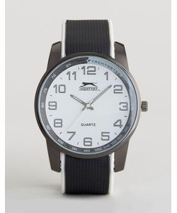 Slazenger   Черно-Серебристые Часы С Силиконовым Ремешком