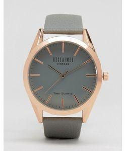 Reclaimed Vintage | Часы С Серым Циферблатом И Серым Кожаным Ремешком