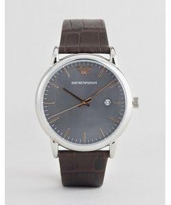 Emporio Armani | Часы С Кожаным Ремешком И Серым Циферблатом Ar1996