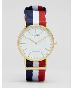 Reclaimed Vintage | Часы С Белым Циферблатом И Полосатым Парусиновым Ремешком