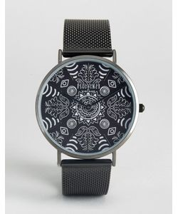 Reclaimed Vintage | Часы С Черным Сетчатым Ремешком И Принтом Пейсли