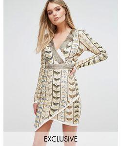 Starlet | Платье Мини С Глубоким Вырезом Запахом И Сплошной Декоративной Отделкой