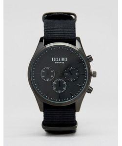 Reclaimed Vintage | Черные Часы С Хронографом И Парусиновым Ремешком