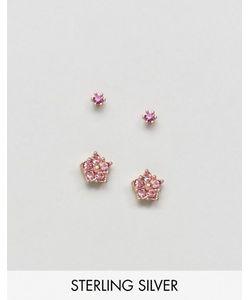 Asos | 2 Пары Серебрянных Серьг Цвета Розового Золота С Камнями