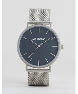 Mr Boho | Серебристые Часы С Сетчатым Браслетом И Темно-Синим Циферблатом