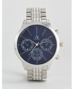 Asos | Серебристые Наручные Часы С Темно-Синим Циферблатом