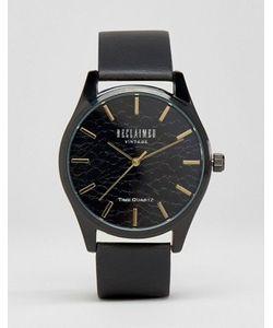 Reclaimed Vintage | Черные Часы Со Змеиным Принтом И Кожаным Ремешком