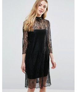 Ganni   Полупрозрачное Кружевное Платье С Длинными Рукавами California