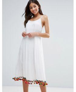 Anmol | Пляжное Платье Макси С Отделкой Помпонами