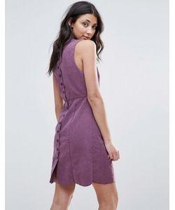 Neon Rose | Цельнокройное Платье Из Искусственной Замши С Пуговицами Сзади