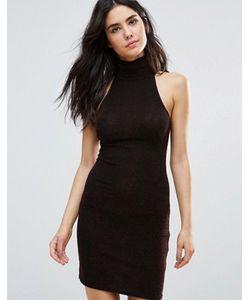 Oh My Love | Облегающее Платье Из Люрекса С Высоким Воротом