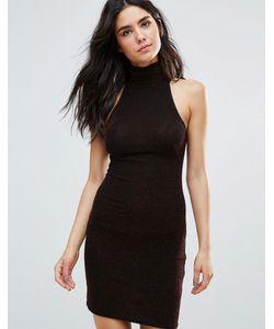 Oh My Love   Облегающее Платье Из Люрекса С Высоким Воротом