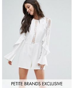 John Zack Petite | Ruffle Front Detail Playsuit With Lace Sleeve