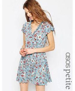 ASOS PETITE | Чайное Платье С Рюшами И Винтажным Цветочным Принтом