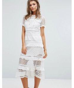 Foxiedox   Платье Миди С Кружевными Вставками Premium
