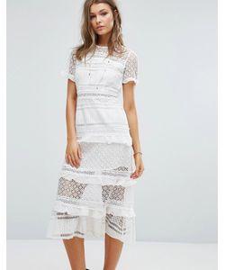 Foxiedox | Платье Миди С Кружевными Вставками Premium
