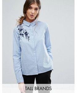Vero Moda Tall | Рубашка В Тонкую Полоску С Вышивкой