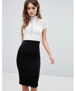 TFNC | Черно-Белое Облегающее Платье-Футляр С Кружевным Лифом