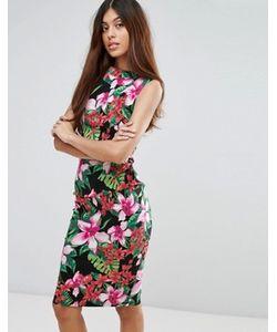 Vesper   Платье Миди С Тропическим Принтом
