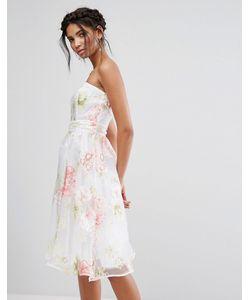 Elise Ryan | Платье-Бандо Миди Из Органзы С Цветочным Принтом
