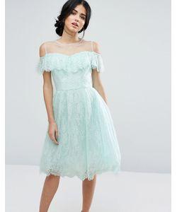 Chi Chi London | Кружевное Платье Миди С Оборкой