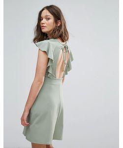 Daisy Street | Приталенное Платье С Оборками На Рукавах И Открытой Спинкой