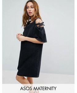 ASOS Maternity | Джинсовое Цельнокройное Платье С Открытыми Плечами И Бантами