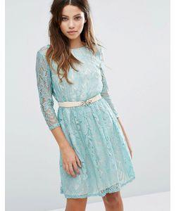 Little Mistress | Кружевное Платье С Длинными Рукавами И Поясом