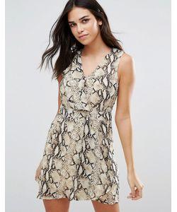 Jasmine | Короткое Приталенное Платье Со Змеиным Принтом
