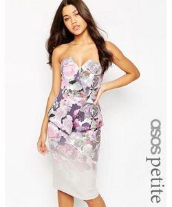 ASOS PETITE | Платье Миди В Стиле Бандо С Цветочным Принтом Premium