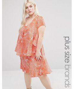 Koko | Платье С Оборкой И Абстрактным Принтом Plus