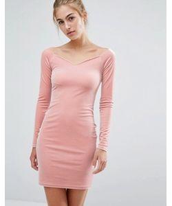 Miss Selfridge | Бархатное Платье С Вырезом Сердечком