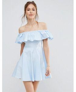 Qed London | Платье С Открытыми Плечами И Оборкой