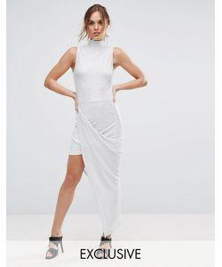 Club L | Плиссированное Платье Макси С Высоким Воротом
