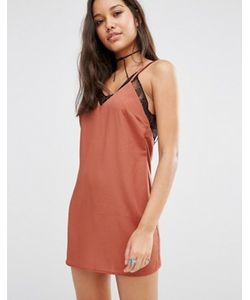 MISSGUIDED | Атласное Платье С Кружевной Отделкой