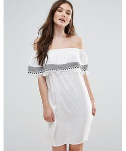 First & I   Платье С Открытыми Плечами И Вышивкой