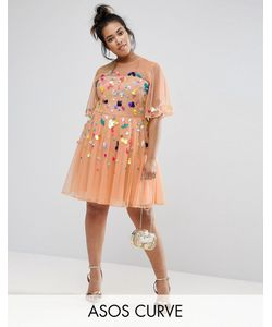 ASOS CURVE | Сетчатое Платье Мини С Пайетками