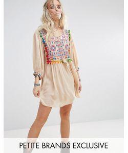 Glamorous Petite | Свободное Платье С Вышивкой И Помпонами