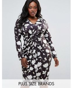 Club L | Платье Миди С Цветочным Принтом И Узлом Спереди Plus