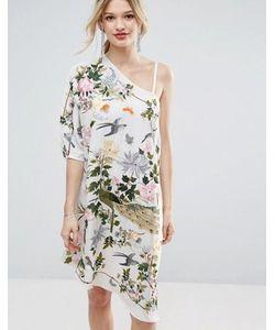 Asos | Ассиметричное Платье Миди С Вышивкой Premium