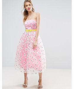 Asos | Платье Миди Для Выпускного Из Органзы С Вышивкой И Бантом На