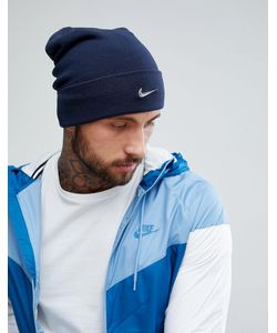 Nike | Темно-Синяя Шапка-Бини С Металлическим Логотипом 803734-451