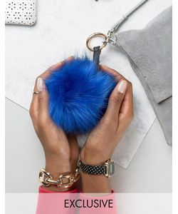 My Accessories | Faux Fur Pom Keyring In Cobalt