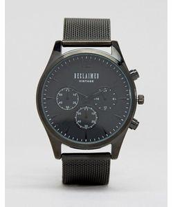 Reclaimed Vintage | Черные Часы-Хронограф С Сетчатым Браслетом