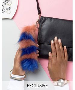 My Accessories | Faux Fox Tail Keyring In Rust Stripe