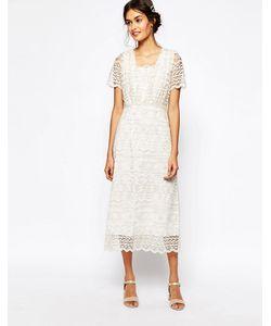 Soma London | Кружевное Платье Макси С Вышивкой Металлик